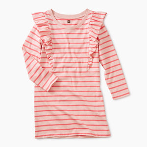 Striped Ruffle Dress - Pink
