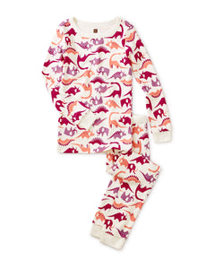 Long Sleeve 2pc Pajama - Pink Dino