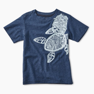 Graphic Tee - Deep Indigo Heather Sea Turtles