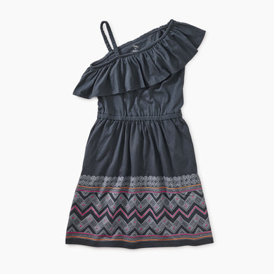 Graphic Ruffle Shoulder Dress - Indigo Chevron