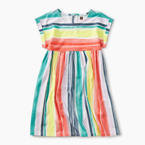 Printed Empire Dress - Watercolor Stripe