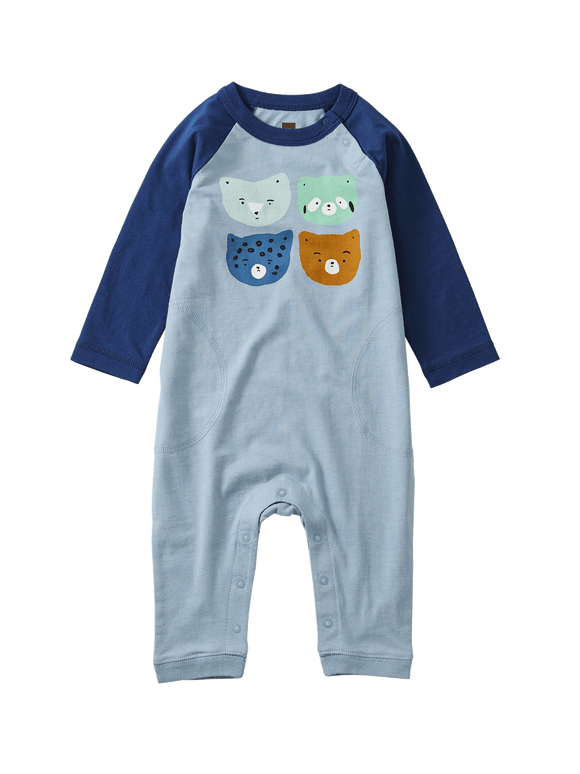 Raglan Critter Romper - Dusty Blue