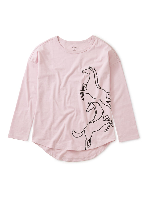 Sparkly Horse Graphic Top - Water Lotus