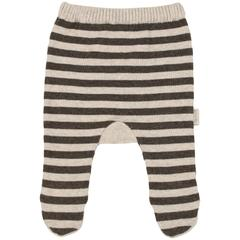 Knit Leggings with Feet - Charcoal Stripe