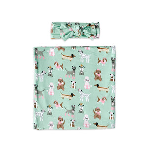 Bamboo Swaddle and Headband Set - Aqua Puppy Love