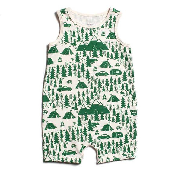 Tank Top Romper - Campground Green