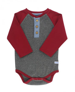 Henley Bodysuit - Cranberry and Gray
