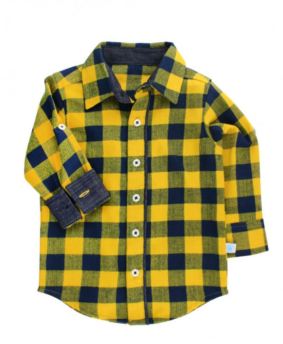Navy and Mustard Plaid Flannel Top