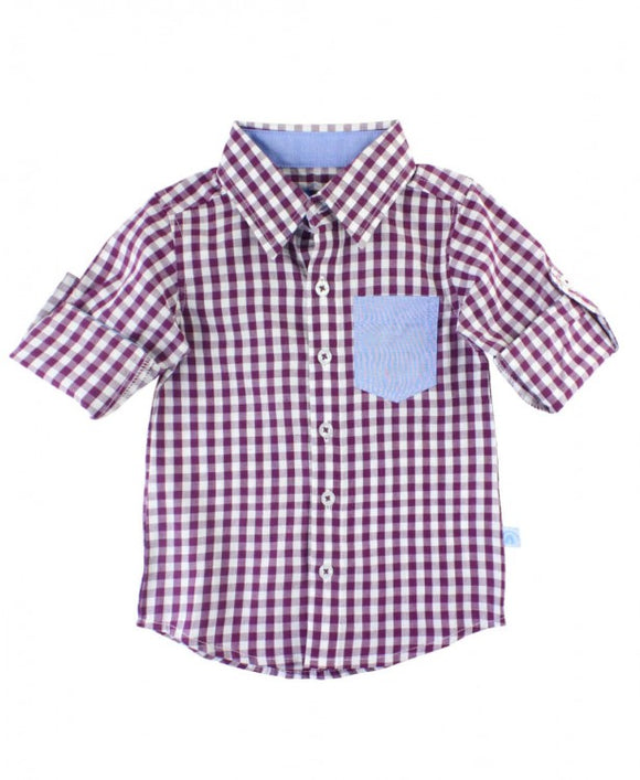 Gingham Button Down - Plum