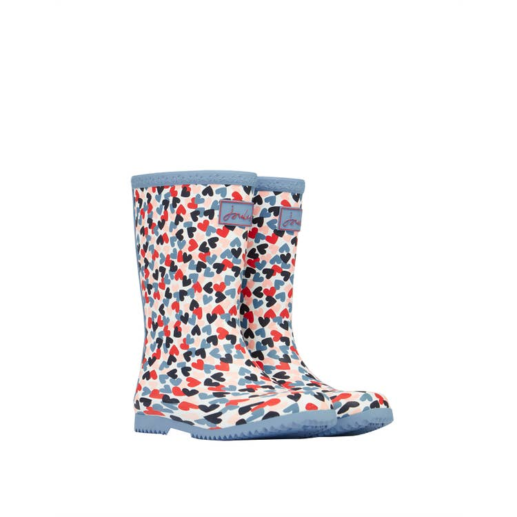 Junior Roll Up Welly Boot - Multi Heart