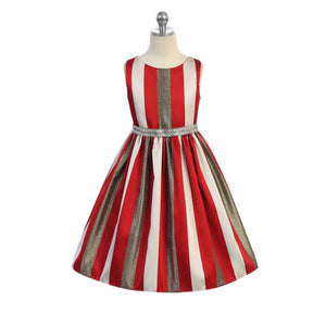 Girl's Dress - Gold Metallic Stripe