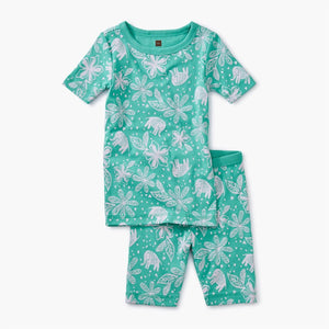 Printed Shortie Pajama - Jungle Woodblock