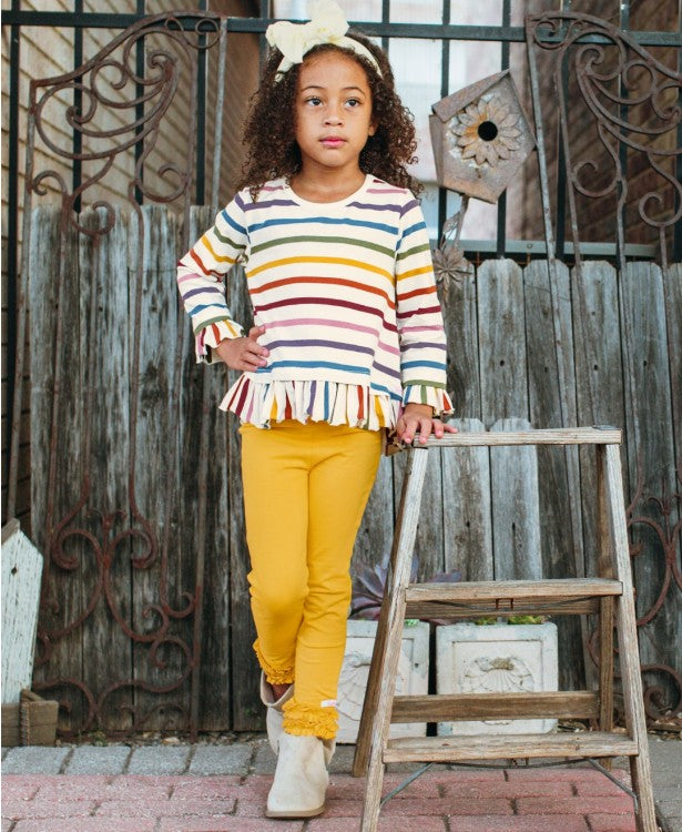 Baby Ruffle Leggings - Mustard Yellow