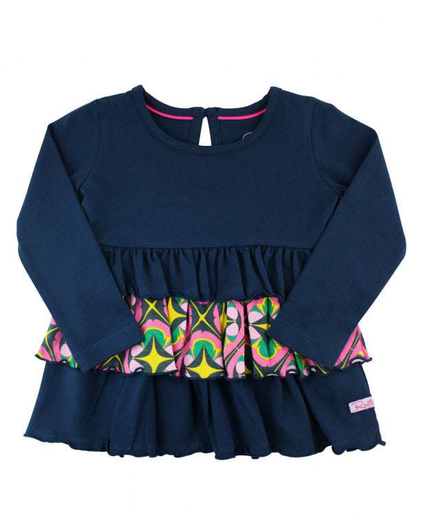 Contrast Ruffle Top - Navy and Pink