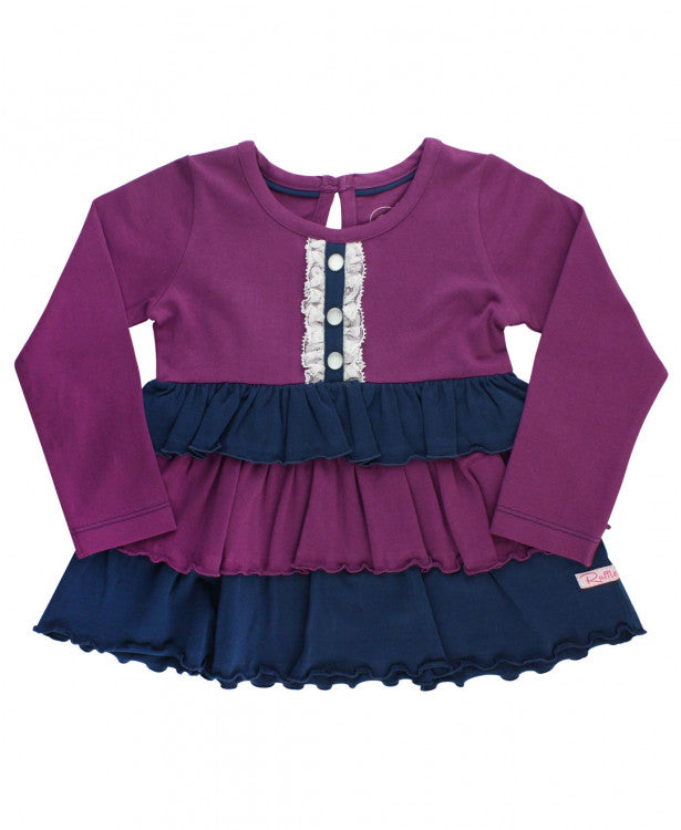 Contrast Ruffle Top - Plum and Navy