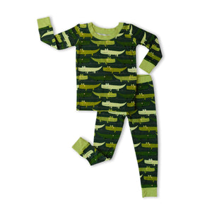Bamboo Long Sleeve Pajama Set - Green Crocodiles
