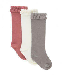 3-Pack Knee High Socks - Ivory, Mauve, Gray