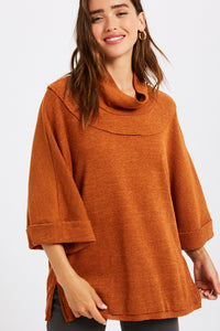 RIBBED MOCK NECK MID SLEEVE TOP
