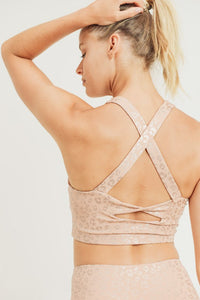 Peach Leopard Twist Sports Bra