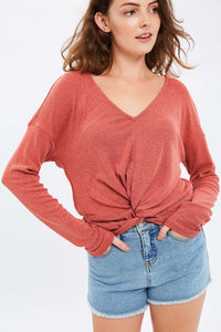 RIBBED TEXTURE KNITTED FRONT KNOT V-NECK TOP