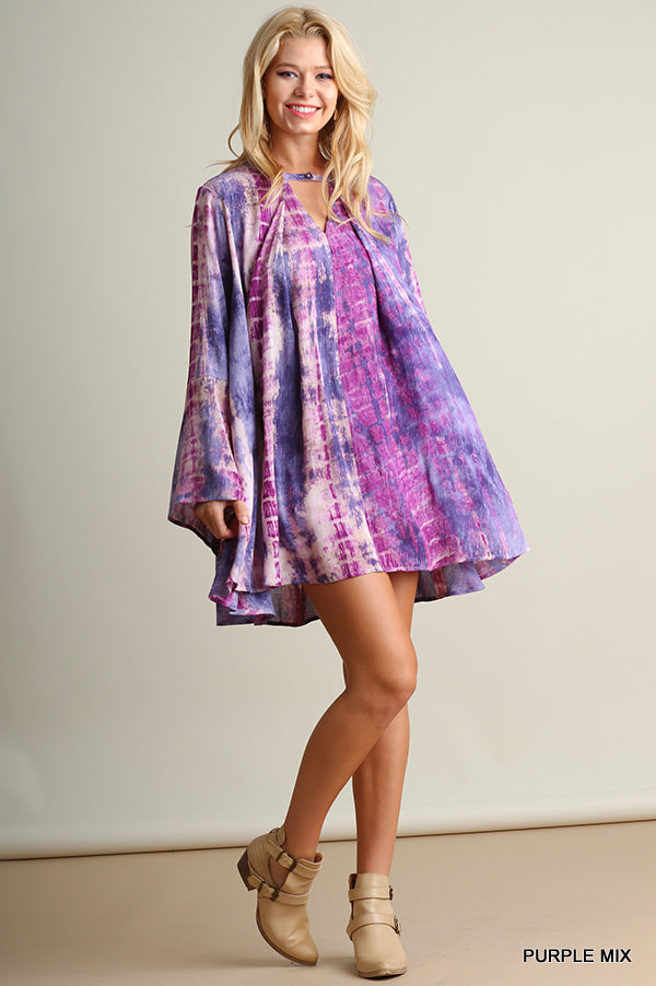 Tie Dye Keyhole Swing Dress