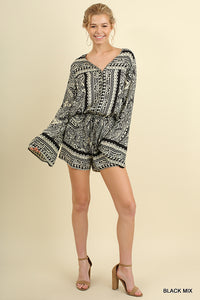 Black & Cream Graphic Print Romper