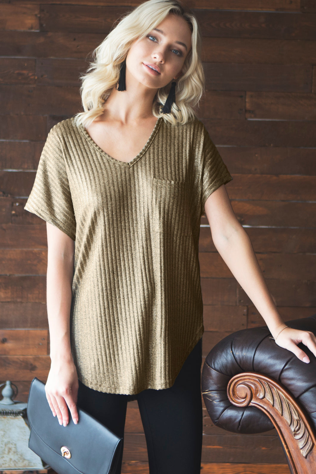 Short Sleeve Ribbed Metallic Top