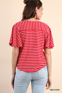 Red Stripe Crossbody Top