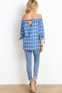 Off Shoulder Tie 3/4 Sleeve