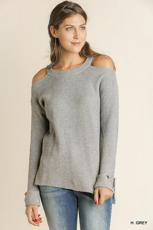 Shoulder Cutout Cozy Sweatshirt