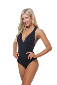 Black Macrame Back Swimsuit