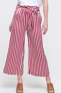 STRIPED TIE WAIST CULOTTES