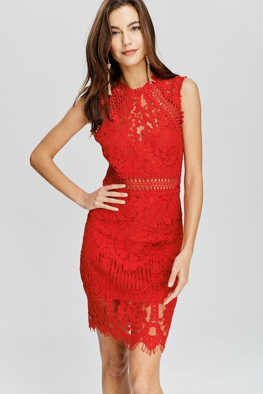 Red Hot Lace Dress