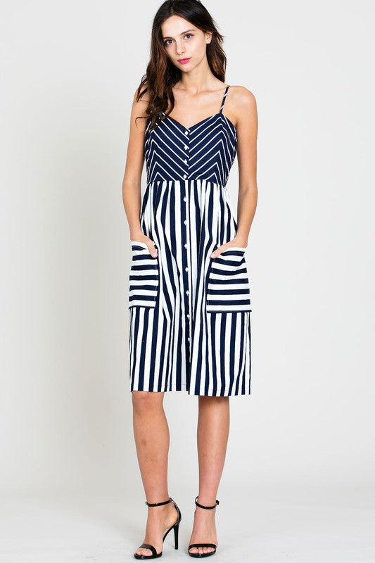 Navy Striped Button Front Midi Dress