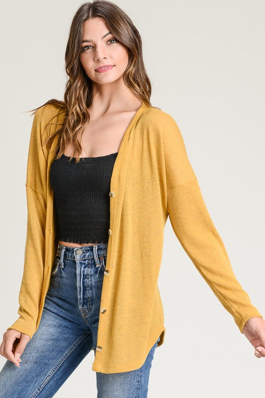 Mustard Button Front Sweater Knit Top