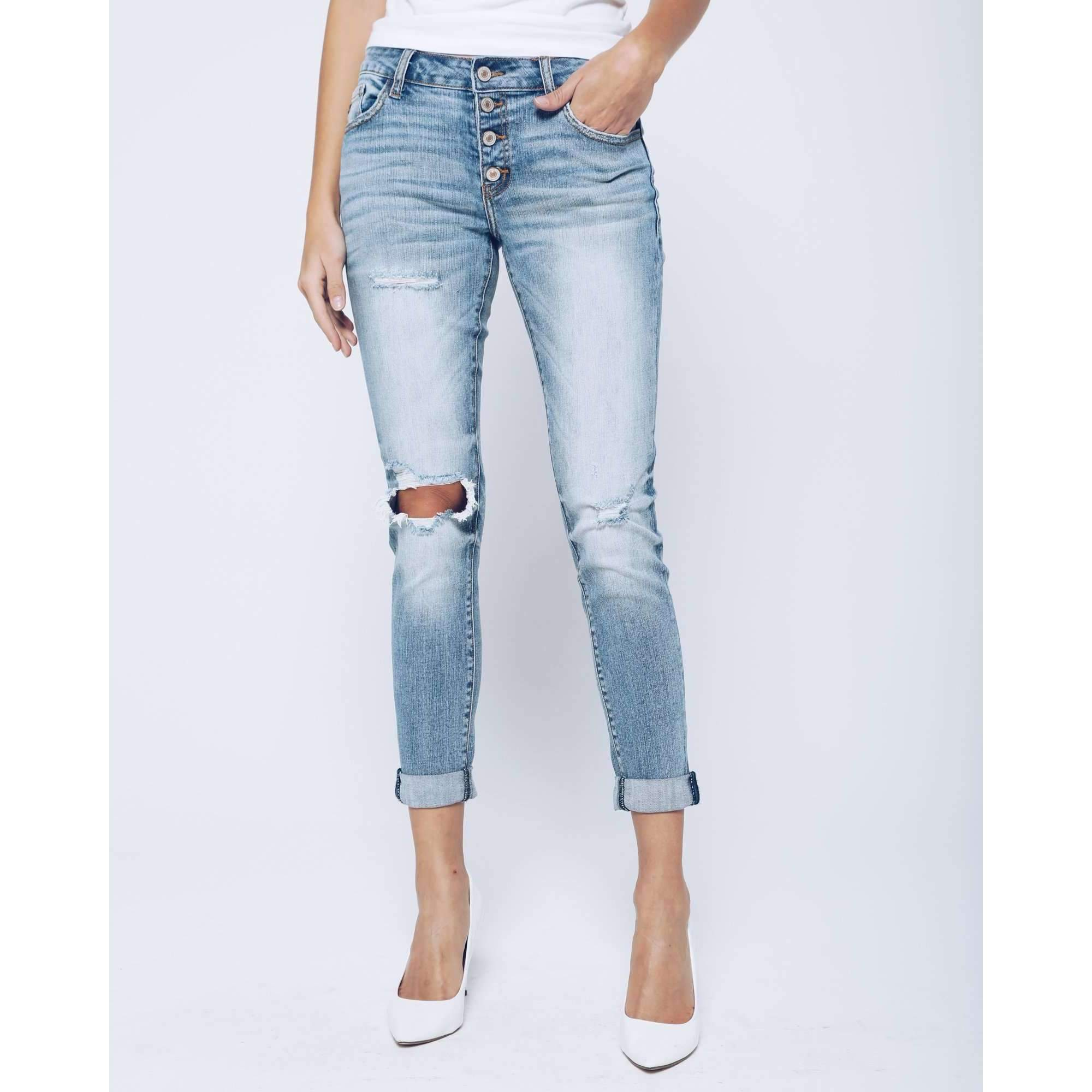 Distressed Faded Girlfriend Jeans