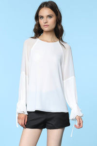 Ruffle Sheer Sleeve Blouse