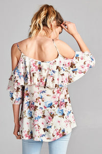 Floral Print Top with Tiered Ruffle Cold Shoulder Sleeves