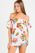Floral Off Shoulder Ruffle Sleeve Top