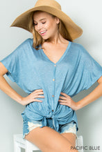 Heathered Blue Button Front Tee