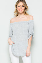 Space Grey Off Shoulder Top