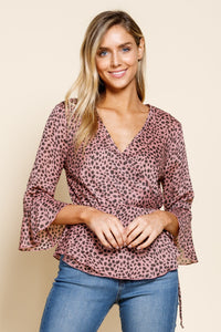 Wrap front bell sleeve blouse