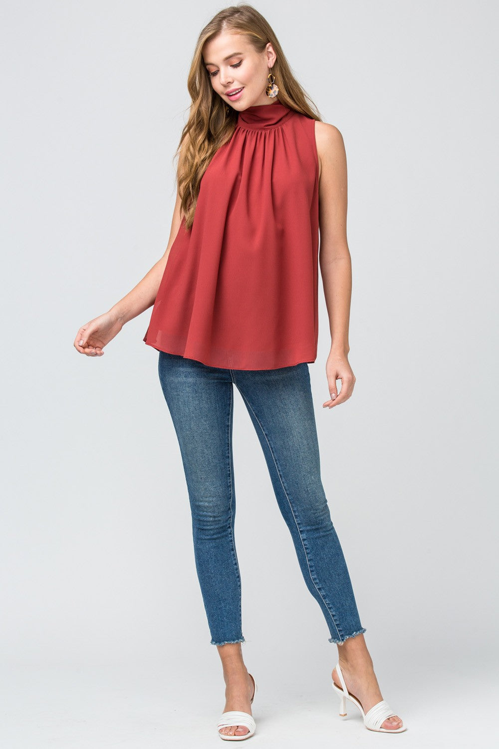 Mock-neck blouse