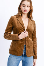 Corduroy Notched Collar Single Button Jacket