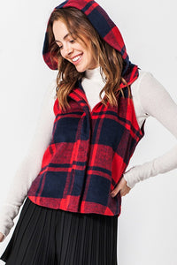 Buffalo Plaid Vest With Hood