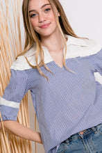 Long Sleeve Contrast Striped Shirt