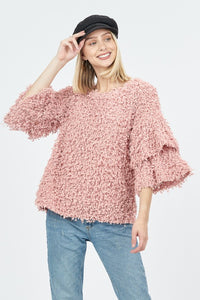 Ruffle Sleeve Knit Sweater Top