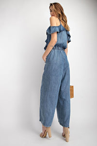 Denim Ruffle Jumpsuit