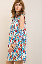 Floral Mock Neck Ruffle Dress