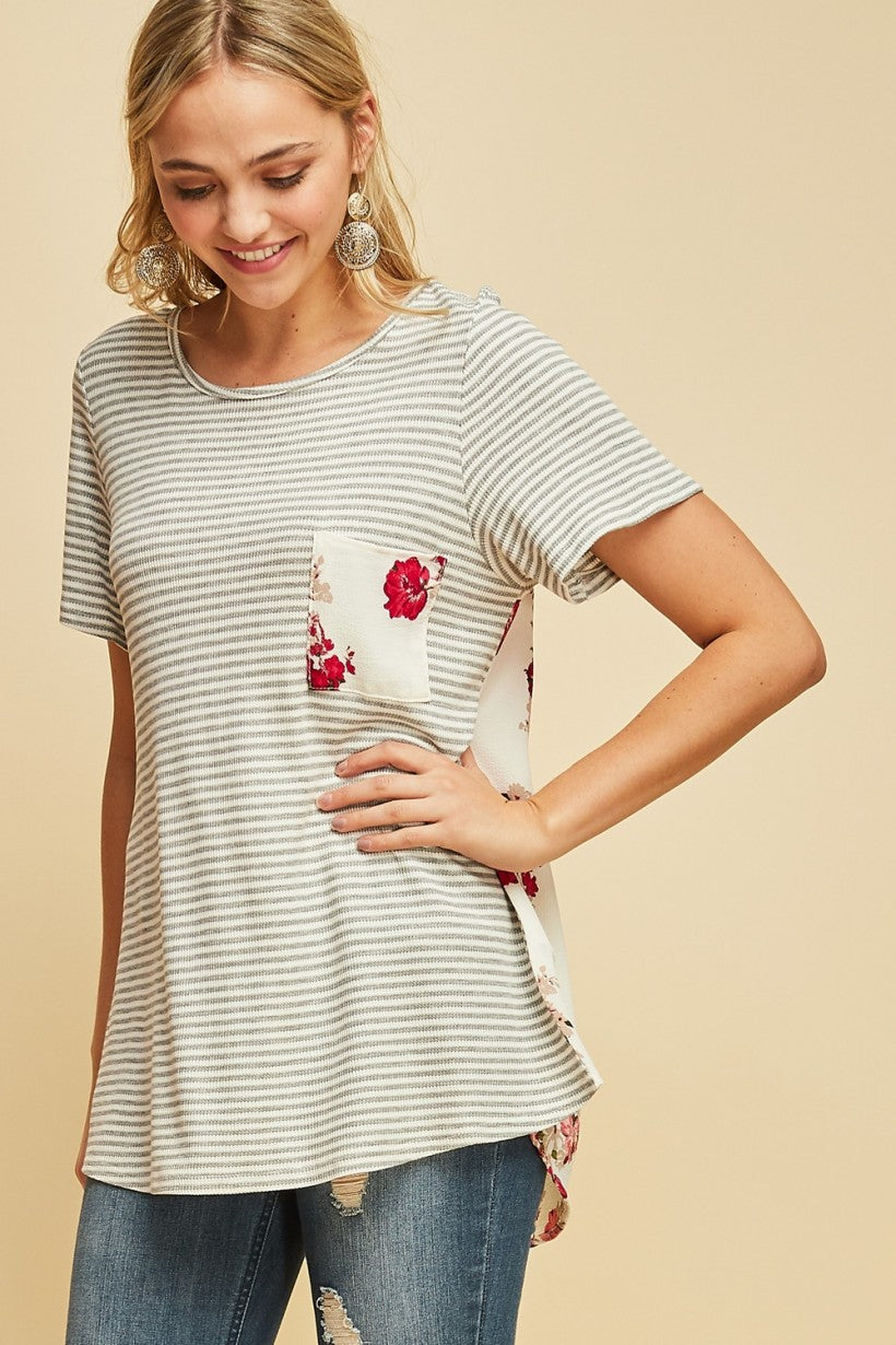 Crew Neck Striped Tee with Floral Accent